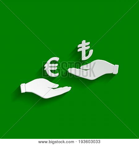 Currency exchange from hand to hand. Euro and Lira. Vector. Paper whitish icon with soft shadow on green background.
