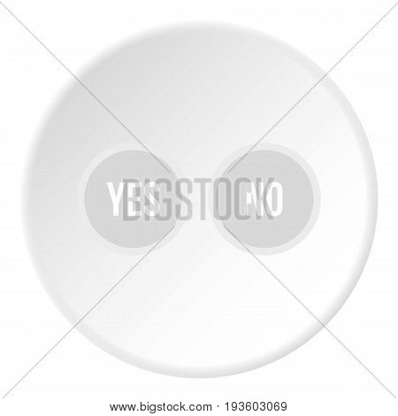 Selection buttons yes and no icon in flat circle isolated vector illustration for web