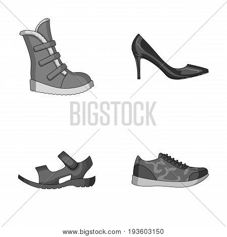 A set of icons on a variety of shoes.Different shoes single icon in monochrome style vector symbol stock illustration.