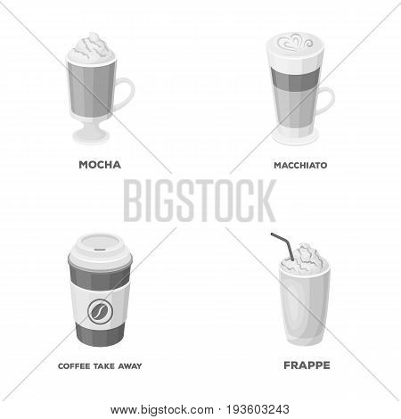Mocha, macchiato, frappe, take coffee.Different types of coffee set collection icons in monochrome style vector symbol stock illustration .