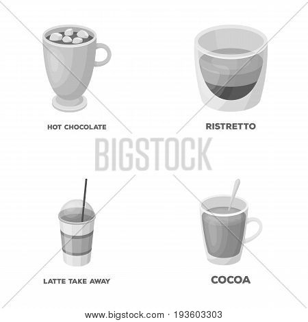 Ristretto, hot chocolate, latte take-away.Different types of coffee set collection icons in monochrome style vector symbol stock illustration .