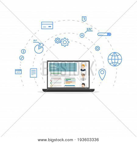 Accounting and audit laptop concept. Financial information with accountants avatars. Online and global accounting. Flat style line modern vector. Circles with icons support clients and crm.