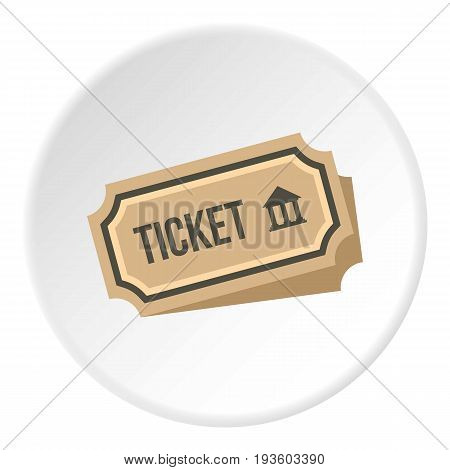 Museum ticket icon in flat circle isolated vector illustration for web