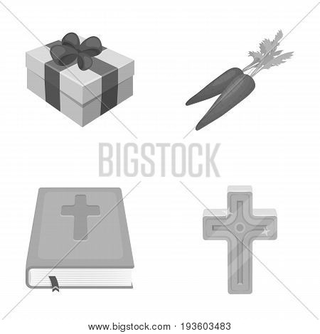 Cross, bible, gift and carrots.Easter set collection icons in monochrome style vector symbol stock illustration .