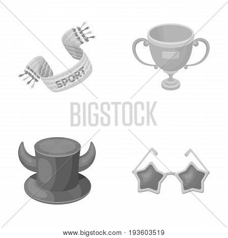A scarf, a hat with horns and other attributes of the fans.Fans set collection icons in monochrome style vector symbol stock illustration .