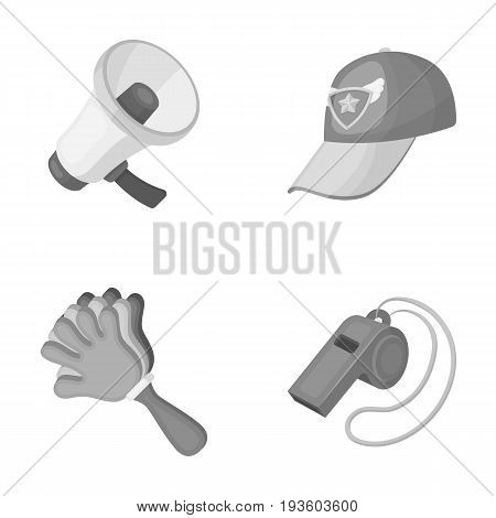 Megaphone, whistle and other attributes of the fans.Fans set collection icons in monochrome style vector symbol stock illustration .