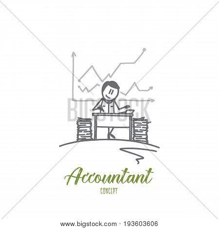 Accountant concept. Hand drawn job of accountant. Person accounting at office isolated vector illustration.