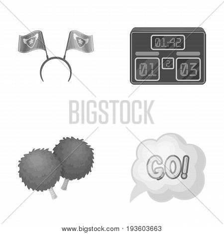 Hoop with flags and other attributes of the fans.Fans set collection icons in monochrome style vector symbol stock illustration .