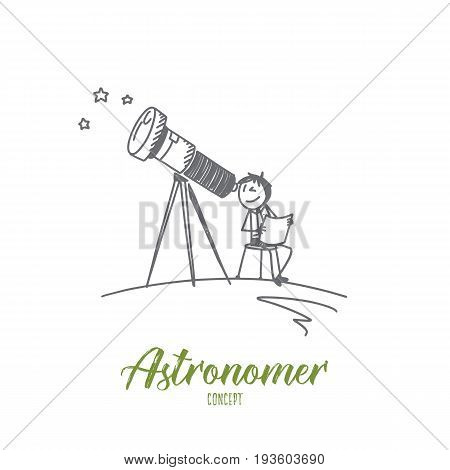 Astronomer concept. Hand drawn person with telescope watching the stars. Astronomer isolated vector illustration.