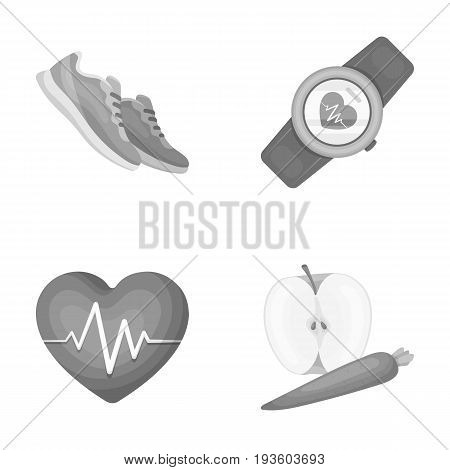 Heart rhythm, vitamins and other equipment for training.Gym and workout set collection icons in monochrome style vector symbol stock illustration .