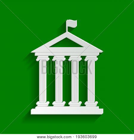 Historical building with flag. Vector. Paper whitish icon with soft shadow on green background.