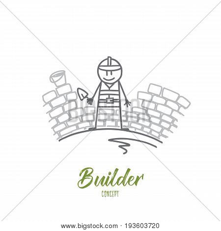 Builder concept. Hand drawn worker laying new paving stones. Builder builds a wall isolated vector illustration.