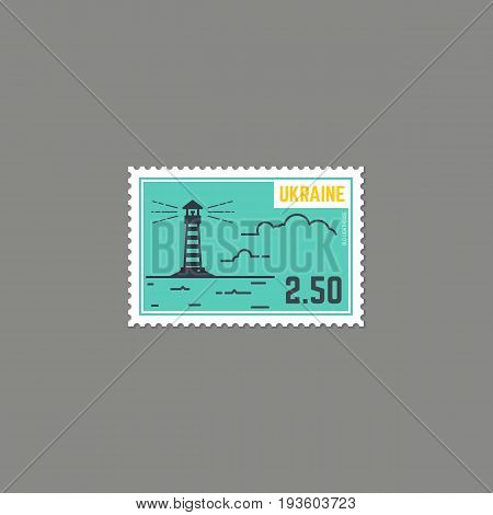 Postage stamp with lighthouse. Sea or ocean view with waves and clouds. Rectangle postage stamp with perforation. Flat style line modern vector illustration with retro colors. For postal postcard.