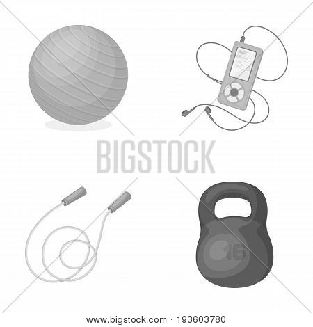 Ball, player and other equipment for training.Gym and workout set collection icons in monochrome style vector symbol stock illustration .