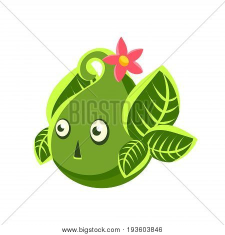 Cute fantastic green plant character in the form of an egg, nature element cartoon vector Illustration isolated on a white background