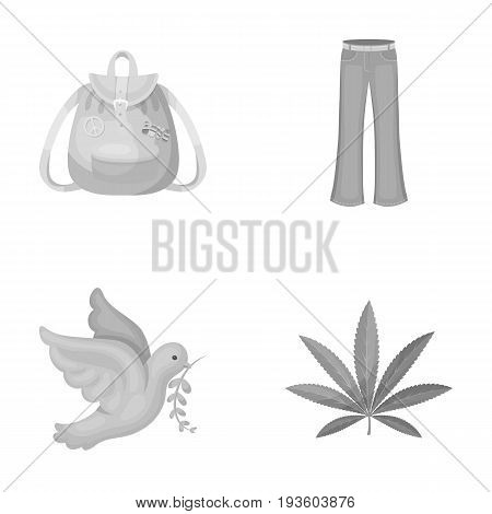 A cannabis leaf, a dove, jeans, a backpack.Hippy set collection icons in monochrome style vector symbol stock illustration.