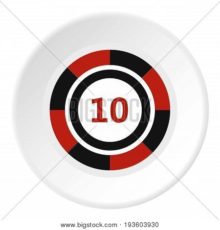 Casino chip icon in flat circle isolated vector illustration for web