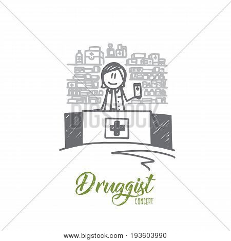 Druggist concept. Hand drawn male pharmacist dispensing medicine. Druggist holding a box of tablets isolated vector illustration.