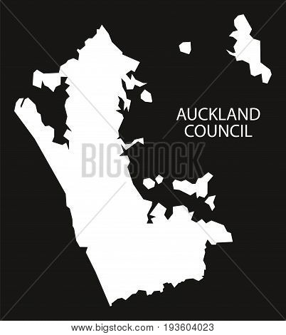Auckland Council New Zealand Map Black Inverted Silhouette Illustration