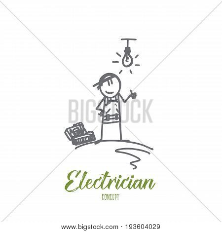 Electrician concept. Hand drawn electrician doing his work. Worker repairs the electricity isolated vector illustration.