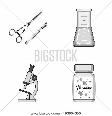 A bank of vitamins, a flask with a solution and other equipment.Medicine set collection icons in monochrome style vector symbol stock illustration .