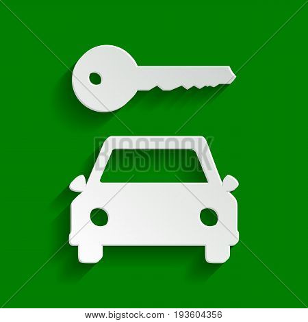 Car key simplistic sign. Vector. Paper whitish icon with soft shadow on green background.