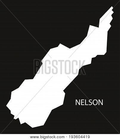 Nelson New Zealand Map Black Inverted Silhouette Illustration