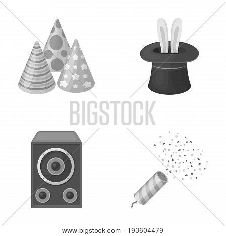 Tricks, music and other accessories at the party.Party and partits set collection icons in monochrome style vector symbol stock illustration .
