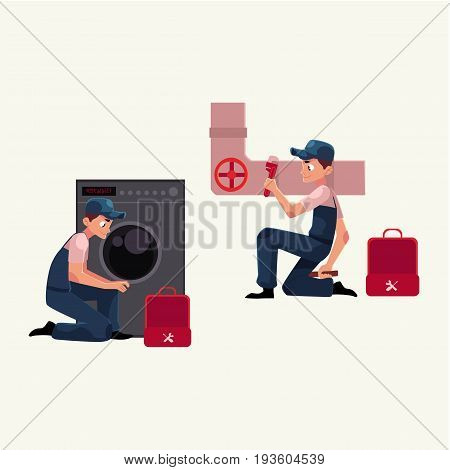 Plumbing specialist at work, repairing sewer pipes, washing machine, cartoon vector illustration isolated on white background. Plumber, plumbing specialist, repairman at work, fixing, repairing
