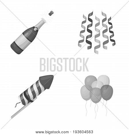 Champagne, fireworks and other accessories at the party.Party and partits set collection icons in monochrome style vector symbol stock illustration .