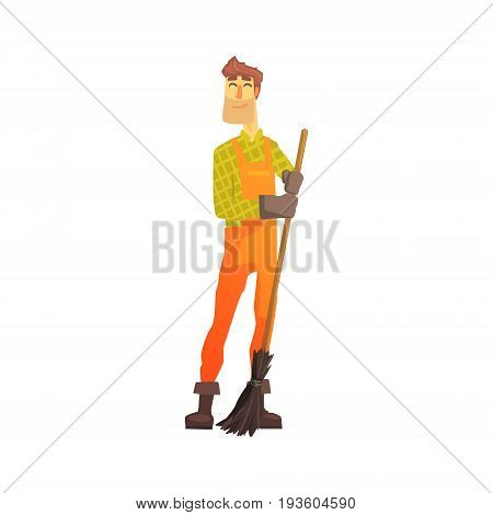 Cartoon street sweeper at work, street cleaner character vector Illustration isolated on a white background