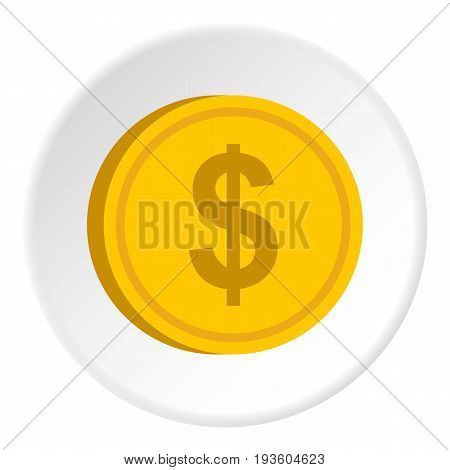 Gold coin with dollar sign icon in flat circle isolated vector illustration for web