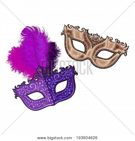 Two decorated Venetian carnival masks, one with feathers, another with golden ornaments, sketch vector illustration isolated on white background. Realistic hand drawing of two carnival, Venetian mask