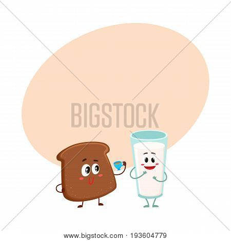 Funny dark, brown bread slice and milk glass characters, breakfast combination, cartoon vector illustration with space for text. Brown bread slice and glass of milk characters, mascots