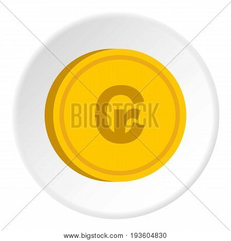 Gold coin with cruzeiro sign icon in flat circle isolated vector illustration for web