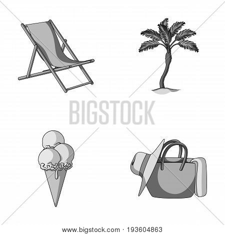 Beach, palm tree, ice cream.Summer vacation set collection icons in monochrome style vector symbol stock illustration .