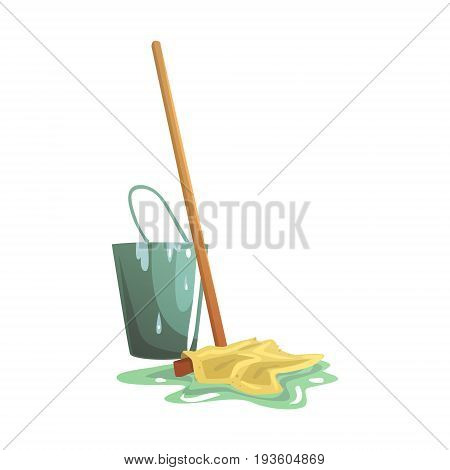 Bucket and floor cleaning broom or mop cartoon vector Illustration isolated on a white background