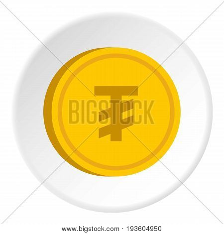 Gold coin with mongolian tugrik sign icon in flat circle isolated vector illustration for web