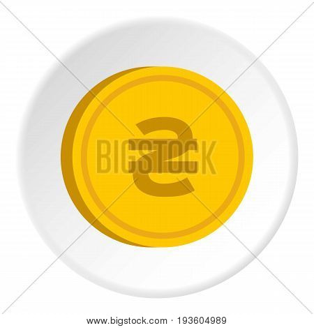 Gold coin with hryvnia sign icon in flat circle isolated vector illustration for web