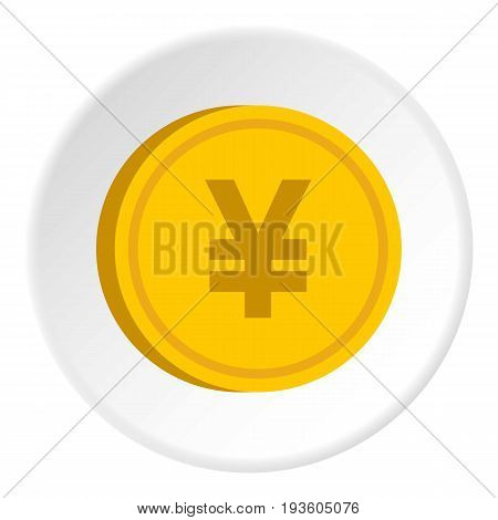 Gold coin with yen sign icon in flat circle isolated vector illustration for web
