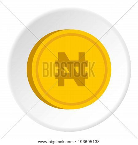 Gold coin with nairas sign icon in flat circle isolated vector illustration for web