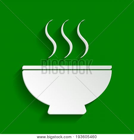 Soup sign. Vector. Paper whitish icon with soft shadow on green background.