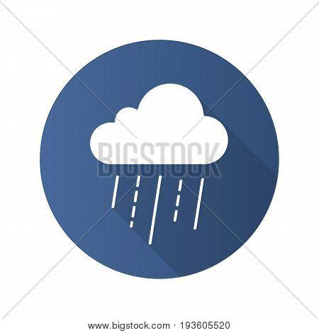 Rainy cloud flat design long shadow glyph icon. Vector silhouette illustration