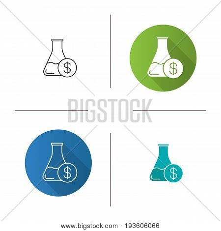 Research price icon. Flat design, linear and color styles. Chemical lab beaker with dollar sign. Isolated vector illustrations