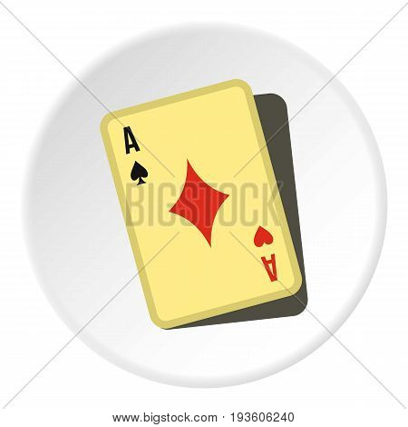 Playing card icon in flat circle isolated vector illustration for web
