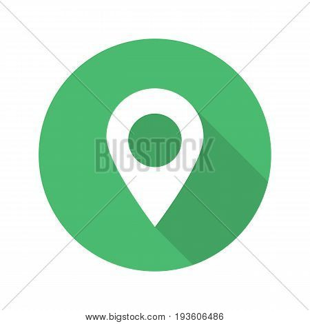 Pinpoint flat design long shadow glyph icon. Geo location mark. Vector silhouette illustration