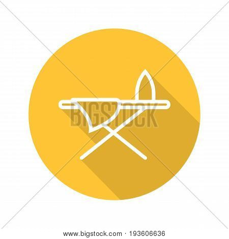Ironing board flat linear long shadow icon. Ironing board with iron and sheet. Vector outline symbol