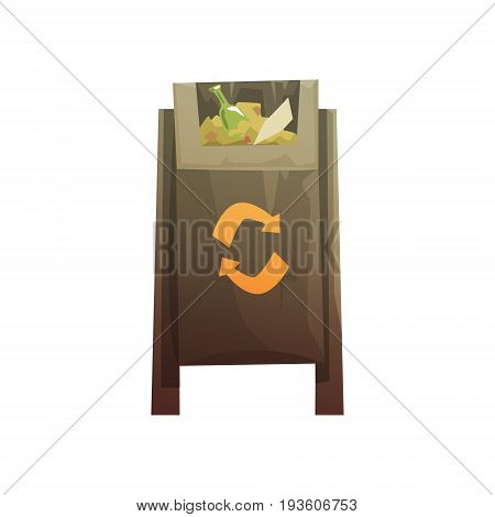 Black public litter bin full of rubbish, waste processing and utilization cartoon vector Illustration isolated on a white background
