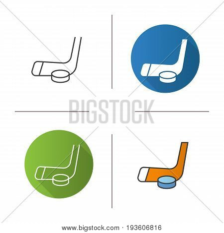 Ice hockey equipment icon. Flat design, linear and color styles. Hockey puck and stick. Isolated vector illustrations