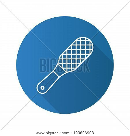 Foot rasp flat linear long shadow icon. Foot scrubber. Vector outline symbol